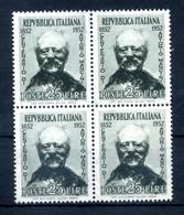 1952 REP. IT. SET MNH ** BLOCCO DI 4 QUARTINA MANCINI - 1946-60: Nieuw/plakker