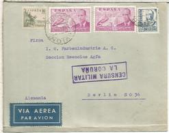CORUÑA CC A BERLIN CORREO AEREO 1939 SELLOS ISABEL NLA CIERVA MAT AVION Y AMBULANTE CERTIFICADO 1 CORUÑA SADA CON CENSUR - 1931-50 Lettres