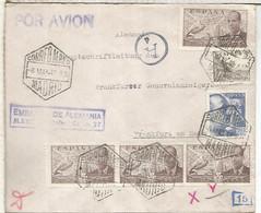 MADRID A FRANKFURT ALEMANIA 1942 AEREA DE LA EMBAJADA ALEMANA SELLOS FRANCO PERFIL Y LA CIERVA MARCA EXENTA DE CENSURA D - 1931-50 Lettres