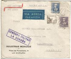 CORUÑA A BERLIN ALEMANIA AEREA 1939 SELLOS CID ISABEL MARCA DE CENSURA MILITAR Y MAT AVION CORUÑA REDONDO - 1931-50 Lettres