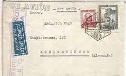 GUERRA CIVIL 1936 CC CORREO AEREO A ALEMANIA CON MAT HEXAGONAL BARCELONA CAMBIO , LLEGADA A PARIS Y CENSURA - 1931-50 Lettres