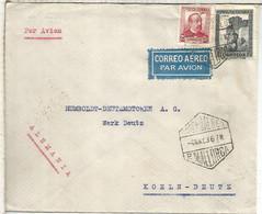 SEGUNDA REPUBLICA PALMA MALLORCA A ALEMANIA 1936 CORREO AEREO CON MAT HEXAGONAL - 1931-50 Lettres