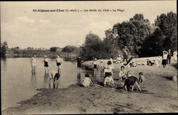 CPA Saint Aignan Sur Cher Loir Et Cher, Les Bords Du Cher, La Plage, Baigneurs - Other Municipalities