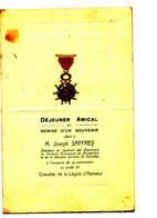 MENU PUB - MENU    DEJEUNER AMICAL   REMISE D'UN SOUVENIR OFFERT A M. JOSEPH SAFFREY  FAB DE CAMEMBERT - Menu