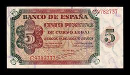España Spain 5 Pesetas Burgos 1938 Pick 110 Serie C SC UNC - [ 3] 1936-1975 : Regime Di Franco