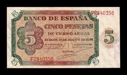 España Spain 5 Pesetas Burgos 1938 Pick 110 Serie F SC UNC - [ 3] 1936-1975 : Regime Di Franco