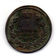 RUSSIA, 1 Kopek, Copper, Year 1828-EM, KM #136.1 - Russia