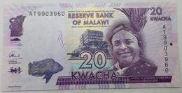 Billete Malawi. 2015. 20 Kwacha. SC. Sin Circular. Colegio. Pez. Posibilidad De Números Correlativos - Malawi