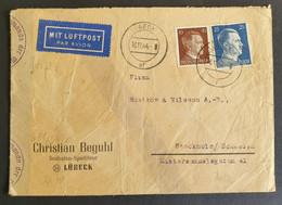 Deutsches Reich 1944, Luftpost Ausland Bedarfsbrief Zensur MiF LÜBECK Gelaufen Stockholm - Germany