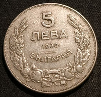 BULGARIE - BULGARIA - 5 LEVA 1930 - KM 39 - Boris III - Bulgaria