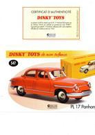DINKY TOYS: REF 547 PL 17 PANHARD - FICHE TECHNIQUE & CERTIFICAT D'AUTHENTICITE - Catalogues & Prospectus