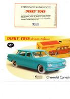 DINKY TOYS: REF 552 CHEVROLET CORVAIR - FICHE TECHNIQUE & CERTIFICAT D'AUTHENTICITE - Catalogues & Prospectus