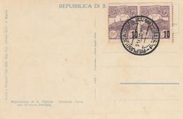 CARTOLINA SAN MARINO CON 2X10 SS15 CIRCA 1940 (KP494 - Covers & Documents