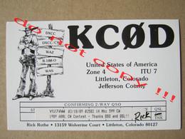 Cowboy / QSL RADIO AMATEUR CARD - KCØD United States Of Amerixa Littleton, Colorado Jefferson County ( 1989 ) - Radio Amatoriale