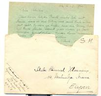 Lettre Soldat En Campagne 4/2/1940 Vers Eupen Cycliste Frontière Lieutenant André - 1939-45