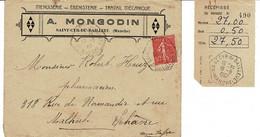 Enveloppe Ancienne A.MONGODIN  Et Un Récépissé, A Saint Cyr Du Bailleul - Diploma & School Reports