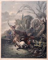 Carl Ruthart (1630-1703) - Alexander Carse (1770-1843): The Stag Hunt/Die Hirschjagd, Színezett Acélmetszet, üvegezett F - Incisioni