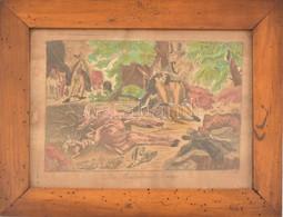 Des Weidmanns Sommer (A Vadász Nyara). Színezett Rézkarc, Wien B. A. Gruber Kiadói Jelzéssel, XIX. Század. Kissé Sérült  - Incisioni