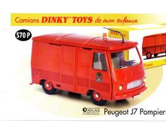 DINKY TOYS CAMIONS: REF 570P PEUGEOT J7 POMPIERS - FICHE TECHNIQUE - Catalogues & Prospectus