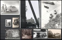 Autós Fotók Vegyes Tétele, Különféle Helyszíneken és Eltérő Időpontokban Készült 21 Db Vintage Fotó és Vagy Mai Nagyítás - Autres Collections