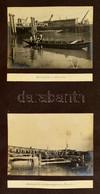 1914 Kevevára Vasút-szállító Komp Hajók Kikötése és A Kevevári Kikötő. 4 Db érdekes Feliratozott Fotó (16x12 Cm) Kartonl - Autres Collections