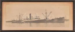 A Kelet Nevű Ganz Hajó Nagy Méretű Fotója 40x15 Cm üvegezett Keretben. - Autres Collections