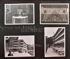 1934 Családi Fotóalbum, Kb. 130 Beragasztott Fotóval, Külföldi és Magyar úti Képekkel, Kecskemét, Enying, Esztergom, Kék - Autres Collections
