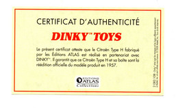 DINKY TOYS: CITROEN TYPE H - CERTIFICAT D'AUTHENTICITE - Catalogues & Prospectus