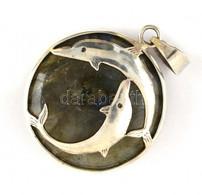 Ezüst(Ag) Delfines Medál, Labradorittal, Jelzés Nélkül, D: 2,5 Cm, Bruttó: 5,3 G - Unclassified