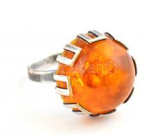 Ezüst (Ag) Gyűrű Borostyánnal 3,93 G - Unclassified