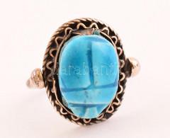Ezüst(Ag) Szkarabeuszos Medál/ Gyűrű, Jelzett, Méret: 55, Bruttó: 6,2 G - Unclassified