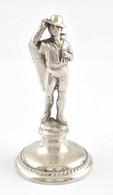 Ezüst(Ag) Puttonyos Fogpiszkálótartó Figura, Jelzett, M: 10 Cm, Nettó: 34,56 G - Unclassified