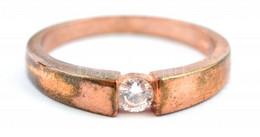 Aranyozott Ezüst(Ag) Gyűrű Cirkónia Kővel, Jelzett, Méret: 67, Bruttó: 4,6 G - Unclassified