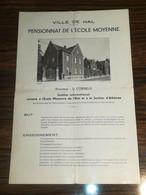 HAL ( HALLE) /Pensionnat De L'école Moyenne, Directeur L. CORNELIS / Dépliant 4 Pages Format 34x22cm - Unclassified