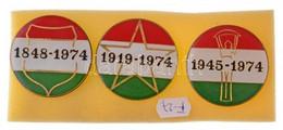 1974. KISZ (Kommunista Ifjúsági Szövetség) Forradalmi Ifjúsági Napok Festett, Műgyantás Propaganda Jelvényei: 1848-1974, - Coins & Banknotes