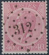 [O SUP] N° 20, Dentelure Parfaite (rare), Obl Concours 'LP312' Rochefort. Coba +20 € - 1865-1866 Profile Left