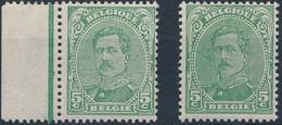 [** SUP] N° 137B+137Ba, 5c Vert Type III - Les 2 Nuances - Cote: 28.5€ - 1915-1920 Albert I