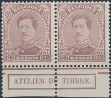 [** SUP] N° 140, 20c Lilas En Paire, Bdf Et 'Atelier Du Timbre' - Cote: 56€ - 1915-1920 Albert I