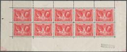 [** SUP] F244, 5F+1F Rouge En Feuillet De 10 (non Plié). Fraîcheur Postale. N° De Planche 1 - Cote: 550€ - Unclassified