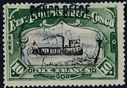 [O TB] N° 39La, 10F Vert (dent 14) - Cote: 400€ - Congo Belge
