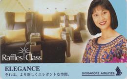 RARE Télécarte JAPON / 110-016 - AVIATION - SINGAPORE AIRLINES - ELEGANCE - JAPAN Phonecard - Femme Girl - Avion 2410 - Airplanes