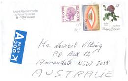 (O 12) Belgium - Posted To Australia - Cover With Rose Adelaide Etc - Belgium