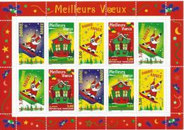 FEUILLET MEILLEURS VOEUX BONNE ANNEE 1998 PERE NOEL CHALET IMPECCABLE - Mint/Hinged