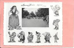 Photo Voeux Bonne Année 1953 Rue Hanoï Blanche Neige 7 Nains Prince Charmant Walt Disney - Altri