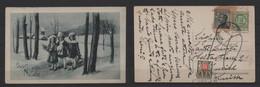 REGNO - 1926 Cartolina Postale Buon Natale Viaggiata X La Svizzera E Tassata Con 10cent - Zonder Classificatie