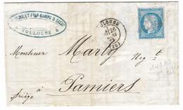 TIMBRES N° 60/1;GRANDE CASSURE ; LETTRE OBLITÉRÉE AVEC 142 A2 ; 9ème état; TTB - 1871-1875 Cérès