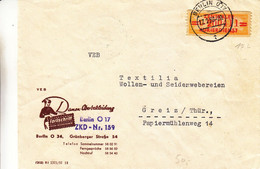 Allemagne - République Démocratique - Lettre De Service De 1958 - Oblit Berlin - Exp Vers Greiz - Briefe U. Dokumente