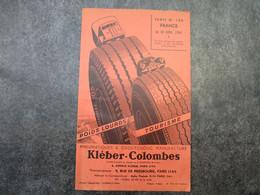 KLEBER-COLOMBES - Pneumatiques & Caoutchouc Manufacturé - Tarif N°126 FRANCE (dépliant 4 Volets Doubles) - Voitures