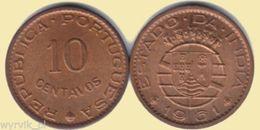 INDIA PORTUGUESE Portugal 10 1961 10 Centavos #S12 - Portogallo