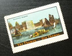 Germany Poster Stamp England Gb Uk Greenwich Hospital Thames Ship Boat Navy B2 - Erinnofilia